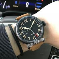 kahverengi saat kayışı siyah kadran toptan satış-Yeni 45mm Tip 20 GMT 03.2430.693 / 21.C723 PVD Çelik Siyah Dial Otomatik Mens Izle Spor Saatler Büyük Taç Kahverengi Deri Kayış ZTH-22b2