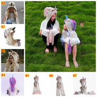 Wholesale scarf animal beanies online - Unicorn Hooded Scarf Earflap Knitted hat warm children s hat animal unicorn shape scarf one piece shawl tassel cap MMA924