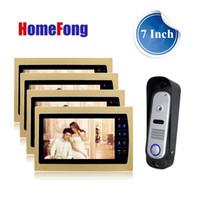 timbre exterior video portero al por mayor-Homefong 7 pulgadas Color Video Door Phone Kits Video Intercom System para Home 4 monitor de interior y 1 cámara de timbre exterior