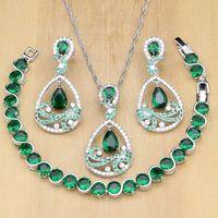 ingrosso pietra verde per la decorazione-Zircone verde naturale bianco pietra 925 gioielli in argento imposta orecchini per le donne ciondolo / anelli / braccialetto / collana set
