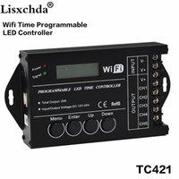 temporizadores de 24v al por mayor-TC421 WiFi time programable led controlador tc420 dimmer rgb acuario temporizador de iluminación, entrada DC12 ~ 24V, 5 canales, máximo 5 * 4A