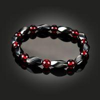 Wholesale magnetic hematite stone - hot sale Health Magnetic Hematite Bracelet Stone Bead String Wristband Bangle Cuff Women Men Power Healthy Fashion Jewelry drop ship 162547