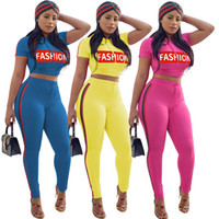 Wholesale striped yoga pants online - Summer Women Tracksuits Solid Women Fashion Letter Printed Hooded Crop With Striped Tight Skinny Pant pc Set