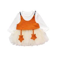 nuevos vestidos de lana chica al por mayor-2018 Spring New Girl Dress Set Wool Star Children Set Infant dress