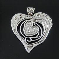 ingrosso grande collana di pendente del cuore della lega-GraceAngie 3PCS GraceAngie Argento antico tono lega cuore fusione grande pendente di fascini della collana 68mm Accessorio dei monili
