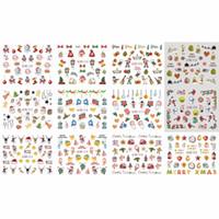 keman sanat toptan satış-12 PAKETLER / GRUP NAIL ART GÜZELLIK SU ÇıKARTMASı SLIDER ÇİVİ NOEL NOEL HUT YAVRU KAHVERENGI KUŞ BN1009-1020