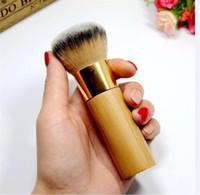 amortiguador de polvo al por mayor-Maquillaje de la marca caliente El cepillo de base de bambú con acabado aerógrafo - Dense Soft Synthetic Hair Flawless Finish Brush en polvo envío DHL