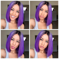 Wholesale purple ombre synthetic wig - Ombre Purple Wigs Short Bob Synthetic Lace Front Wig Full Glueless Natural Black Purple Heat Resistant Hair Women Wigs Short Bobo Hair