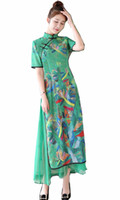 qipao cheongsam verde al por mayor-Shanghai Story Vietnam aodai ropa de estilo chino China Qipao largo vestido de cheongsam chino para mujeres verdes