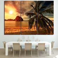 plaj soyut tuval duvar sanatı toptan satış-Posteri HD Baskılar Duvar Sanatı Modüler Tuval 3 Parça Soyut Resimler Sunset Beach Hindistan Cevizi Ağaçları Resimleri Ev Dekor Çerçeve