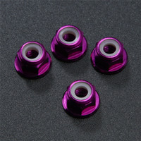 Wholesale wholesale rc car parts online - 4pcs set WD RC Car Purple Aluminum Nylon Nut M4 Upgrade Parts