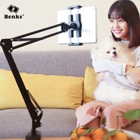 Wholesale office mobile - Benks 360 Rotation Mobile and Tablet Holder Long Arm Lazy Mount Mobile Phone Bracket Gooseneck Clamp Stand in Bed Office