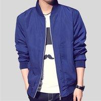 beyzbol ceketleri spor giyim toptan satış-Erkekler Bombacı Ceketler Katı Rahat Fermuar Ceket Erkek Bahar Sonbahar Ince Slim Fit erkek Spor Beyzbol Ceket Dış Giyim