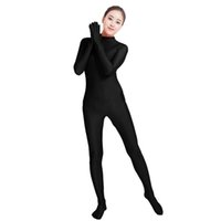 Discount spandex jumpsuit men - Ensnovo Black Spandex Zentai Full Body Skin Tight Jumpsuit Unisex Zentai Suit Bodysuit Costume for Women Unitard Lycra Dancewear