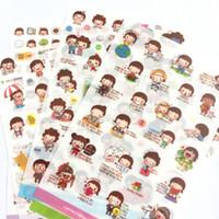 Wholesale girls sticker album - 6 Sheets  pack Korean Girls & Boys Adhesive Stickers Decorative Album Diary Stick Label Paper Hand Account Decor