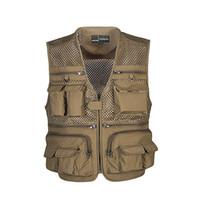 ingrosso giacca da pesca traspirante-Gilet Quick Dry traspirante Multi Pocket Mesh Giacche Fotografia Vest Esercito verde pesce Vest Tasche Giacca