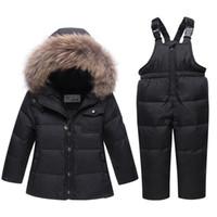 garotas de garotas para baixo conjunto de casaco venda por atacado-2018 Rússia Casaco de inverno crianças meninas conjuntos de roupas de bebê menino roupas de menina para a véspera de ano novo parka jaquetas de neve desgaste