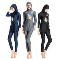 ecf4f2dd9a0 Modest Muslim Swimwear Hajib Islamic Swimsuit For Women Full Cover  Conservative Burkinis Swim Wear Plus Size 6xl black long sleeve new
