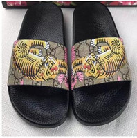 Wholesale Girls Summer Sandals - New Fashion Women and men summer sandals casual shoes printing tiger brand G Boys and girls slippers with box