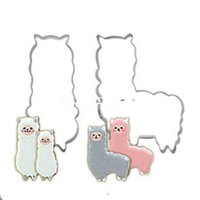 Wholesale cute fondant cookies - 25set (2pcs set) DIY Mini Stainless Steel Animal alpaca sheep Pastry Cookie Biscuit Cutter Unique Cute Sheep Fondant Cake Chocolate Decor To