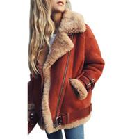 faux corderos abrigos de lana al por mayor-Señoras de la manera abrigo de lana de cordero caliente chaqueta de la motocicleta de las mujeres 2018 abrigo de la piel de imitación de invierno de la mujer abrigo de la solapa de la cremallera de la solapa