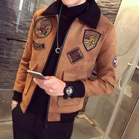Wholesale Gray Suede Jacket - Winter Jacket Men Fashion 2017 Turn Down Collar Mens Casual Jackets Autumn Designer Suede Slim Fit Long Sleeve Mens Warm Coats