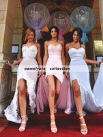 платья с длинными рукавами оптовых-2018 Русалка длинные шифоновые платья невесты Sexy High Slit без бретелек Wedding платья партии аппликации фрейлина платья