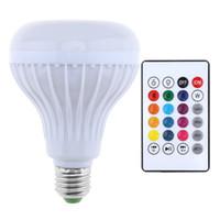 bluetooth kontrollü ışıklar toptan satış-12 W 100-240 V E27 RGB Bluetooth Hoparlör LED Ampul Işık Desteği Müzik Çalma Dim Kablosuz LED Lamba 24 Tuşları ile Uzaktan Kumanda LED_20I