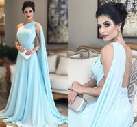 bir omuz gökyüzü mavi elbise toptan satış-Bir Omuz Işık Sky Blue Abiye Pileli Şifon Illusion Geri Kat Uzunluk Suudi Arapça Gelinlik Örgün Törenlerinde Hızlı Kargo