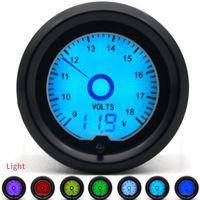 exhibición digital de los indicadores del coche al por mayor-2 pulgadas 52mm Voltaje Gauge 7 Color Racing Gauge LCD Display Car Meter Multiple Colors