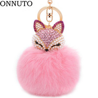 игрушка из меха лиса оптовых-Lovely Crystal Faux   Fur Keychains Women Trinkets Suspension On Bags Car Key Chain Keyrings Toy Gifts 7C0394