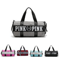 Wholesale Large Black Art Canvas - Travel Duffel Striped Bag Shoulder Bag PINK Sports Fitness Aslant Bag Letter Large Capacity Waterproof Beach Bags 2018 New Women Handbags