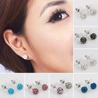 kristallperle shamballa großhandel-15 Farbe Shamballa Marke Imitation Perle Kugel Ohrringe Frauen Micro Disco Ball Kristall Ohrstecker für Frauen Modeschmuck