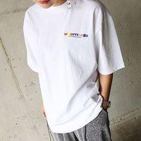 Wholesale Rainbow Shirt Men - 18ss Vetements Vtm Tee Rainbow Letter Gradient Printed Fashion Casual Loose T-shirt Streetwear Hip-hop Sport Summer Men Women Tee HFLSTX238