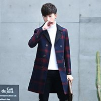 ingrosso giacche casual per uomo-2017 Nuovi uomini Reticolo Lungo Trench Moda Uomo Slim Cappotto Comodo Business Casual Cappotti Giacche Vestiti di Vendita Calde S-3XL
