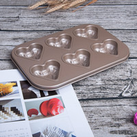 Wholesale heart cake mould - 6 Hole Heart Shaped Fashion Cake Baking Moulds Originality DIY Caking Mold LOVE Bake Equipment For Household 8 8yt X