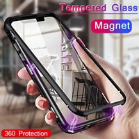 Wholesale Magneto Phone Case For iPhone X XS MAX plus Samsung S8 S9 Magnet absorption shell Metal Bumper Anti Scratch Tempered Glass Case