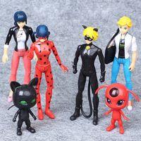 Wholesale finish cat - 6 pcs lot Miraculous Ladybug Ladybug 6 Ladybugs and Super Cat Hand Decoration Dolls V 001