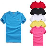 blusa manga de bordado al por mayor-S-6XL Más del tamaño T Shirt Marca de moda Hombres Mujeres Camiseta de manga corta Verano Cocodrilo Bordado Camisetas Para Hombre de Alta Calidad Blusa Casual Tops