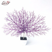 Wholesale coral branches - High imitation Artificial Fan Shaped Plastic Dried Branch Plant Home Wedding Decoration Gift Glitter Simulation coral