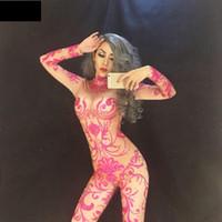 body rosa completo al por mayor-Pink Diamond Queen Full Of 7000 PCS Rhinestones brillantes Jumpsuit Christmas Celebrate Nightclub DJ Performance Bodysuit