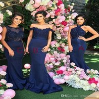 Wholesale halter open back mermaid wedding dresses resale online - Halter Open Back Mermaid Navy Blue Bridesmaid Dress with Lace Beading Formal Wedding Guest Dress Evening Gowns