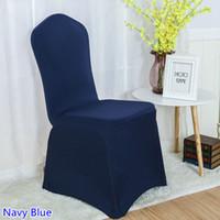 ingrosso coperte di sedia a banchetto blu navy-Coprisedile in spandex blu Navy colore piatto anteriore lycra stretch copertura della sedia del banchetto per la decorazione di nozze all'ingrosso in vendita