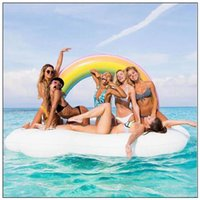 Wholesale water floating beds for sale - 210 cm Inflatable Rainbow Floats Tubes Pool Swimming Toy Ride On Pool Rainbow Floating Bed Swim Ring for Water Sports CCA9346