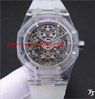 gummi armband uhr herren großhandel-Luxusuhren 2018 Mens-transparentes Gummiarmband-Stahlskelett 42mm Armbanduhr-Armbanduhr der automatischen Art- und Weisemarken-Männer