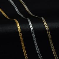 flache schlange kette gold männer groihandel-5mm Gold Farbe Edelstahl Bordstein Cuban Link Chain Halsketten Trendy Choker 50 CM Lange Flache Schlangenkette für Männer Schmuck