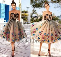 Wholesale vintage dress 12 - 2018 New Design Homecoming Dresses Knee length Sweetheart Strapless Butterfly Lace Tulle Ball Gown Graduation Dresses for Prom Party