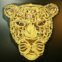 бисерная аппликация для одежды оптовых-Новый Большой золотой леопард голова блесток патч DIY одежда патчи для одежды шить на одежду вышитые Тигр мотив бисером аппликация ремесла