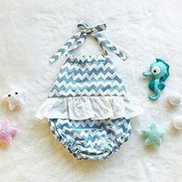 girls lace tops collar NZ - 2018 summer toddler girl rompers newborn onesies chevron jumpsuits baby boutique clothing kids halter tops backless lace bodysuits clothes