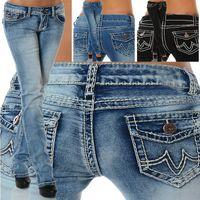 damen-mode slim fit jeans großhandel-2018 Damenmode Jeans Low Waist Hosen Stretch Gerade Jeans für Damen Slim Fit Lange Hosen